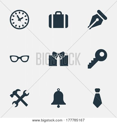 Vector Illustration Set Of Simple Instrument Icons. Elements Ring, Eyeglasses, Ink Pencil And Other Synonyms Case, Key And Necktie.