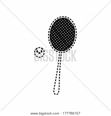 Tennis racquet sign. Vector. Black dashed icon on white background. Isolated.