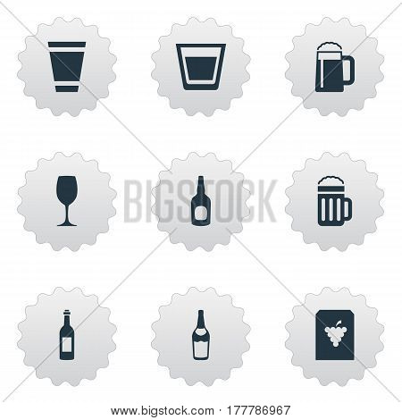 Vector Illustration Set Of Simple Water Icons. Elements Beer, Whiskey, Vine And Other Synonyms Whiskey, Fruit And Wineglass.