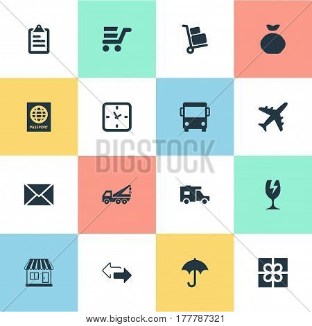 Vector Illustration Set Of Simple Conveyance Icons. Elements Envelope, Pushcart, Gingham And Other Synonyms Eviction, Ribbon And Trade.