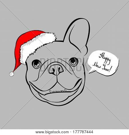 French bulldog Portrait in a Santa's hat . Vector illustration.