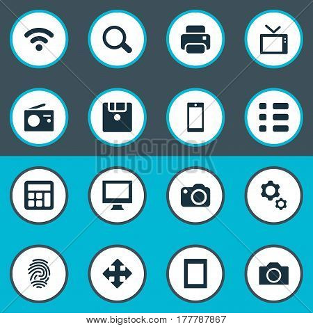 Vector Illustration Set Of Simple Device Icons. Elements Move, Save, Tuner And Other Synonyms Display, Settings And Photo.