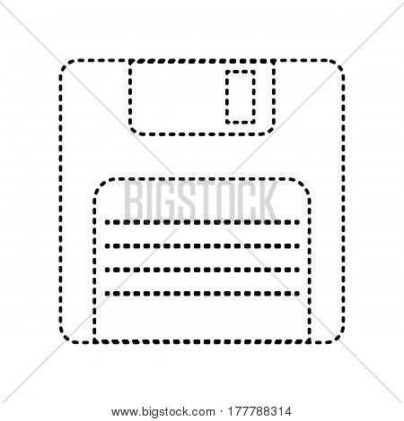 Floppy disk sign. Vector. Black dashed icon on white background. Isolated.