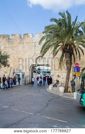 JERUSALEM, ISRAEL - DECEMBER 8: The Dung Gate, entrance to the Old City near the Western Wall on the Temple Mount in Jerusalem, Israel on December 8, 2016