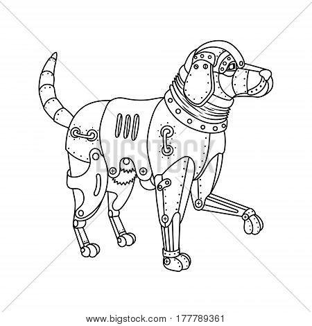 Steam punk style golden retriever dog. Mechanical animal. Coloring book vector illustration.