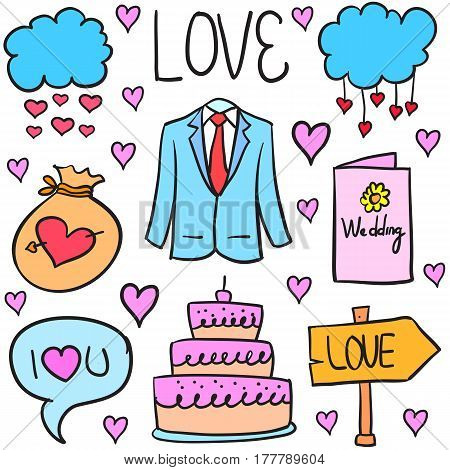 Vector illustration of wedding object doodles collection