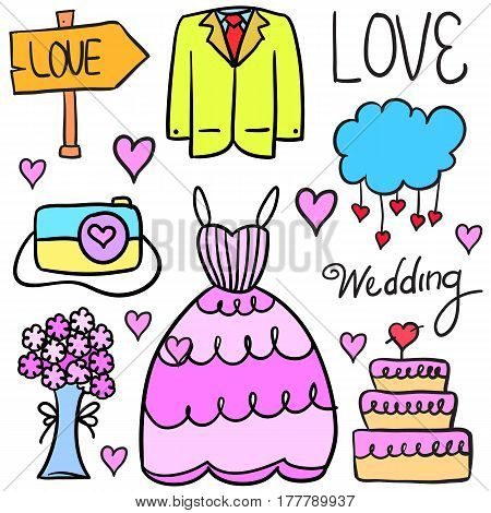 Doodle of wedding style collection stock vector illustration
