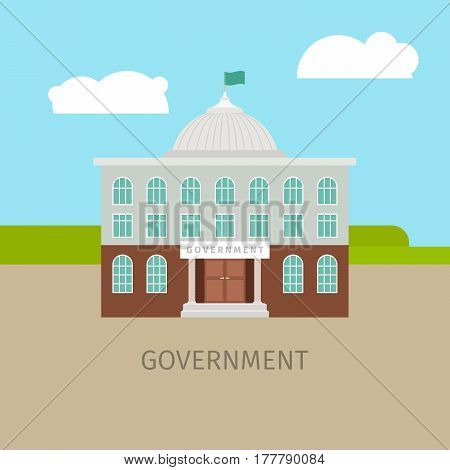 Colored urban government building with sing, vector illustration