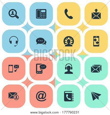 Vector Illustration Set Of Simple Contact Icons. Elements E-Mail Symbol, Postage, Earpiece And Other Synonyms Author, Arrows And Book.