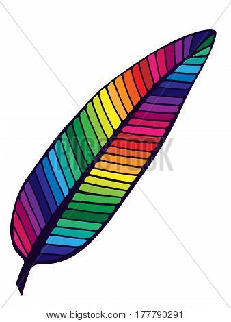 Colorful isolated feather on the white background. Single rainbow color feather for card coloring book typography and other design.