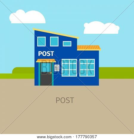 Colored urban post building with sky and clouds, vector illustration