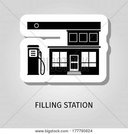 Filling station black building vector web sticker icon