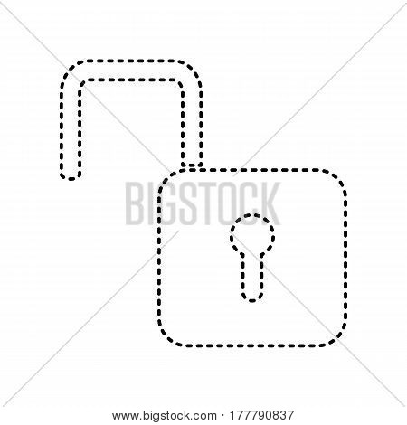 Unlock sign illustration. Vector. Black dashed icon on white background. Isolated.