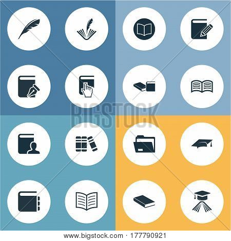 Vector Illustration Set Of Simple Knowledge Icons. Elements Online Education, Knowledge, Documents And Other Synonyms Feathered, Cap And Poetry.
