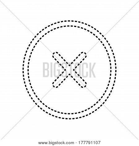 Cross sign illustration. Vector. Black dashed icon on white background. Isolated.