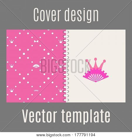 Cover design for print with princess pattern. Vector illustration