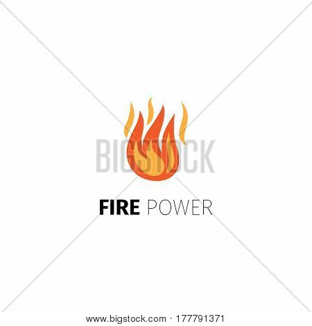Fire power icon. Vector fire flame logo template isolated on white background