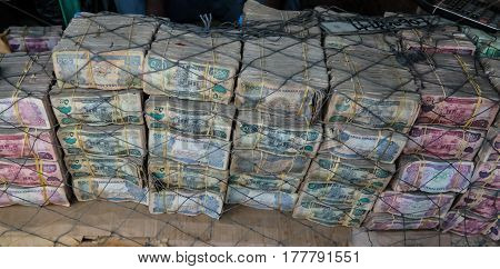 Somaliland shillings Currancy exchange point on the street of Hargeysa in Somalia