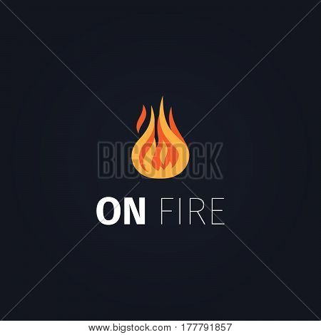 On fire icon. Vector fire flame logo template isolated on dark background