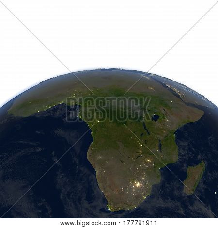 Africa At Night On Planet Earth