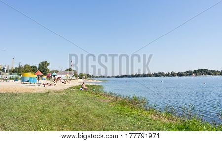 BELGOROD RUSSIA - August 30.2016: Townspeople sunbathe on the city beach on the river Seversky Donets