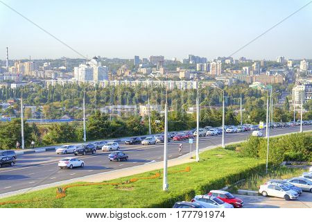 BELGOROD RUSSIA - August 30.2016: View on a city Belgorod from the heights of the Kharkov mountain