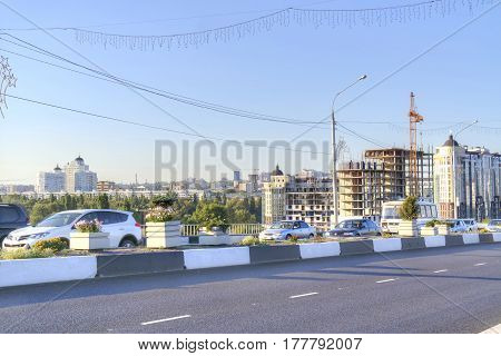 BELGOROD RUSSIA - August 30.2016: View on a city Belgorod. Transport on Vatutina Avenue