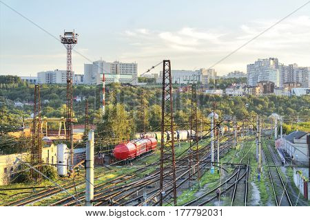 BELGOROD RUSSIA - August 30.2016: Railroad tracks leading to the station of the city Belgorod