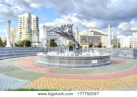 BELGOROD RUSSIA - August 31.2016 : Fountain of Nike with a colonnade around on a background the State municipal university