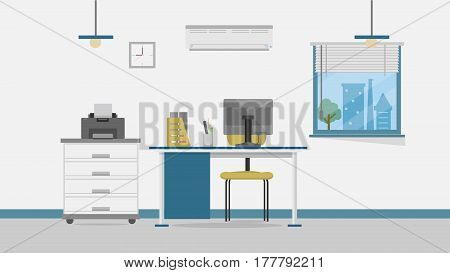 Office Vector Illustration | Conceptual background design vector | Use for building, architecture, construction, interior and much more. The set can be used for several purposes like: websites, print templates, presentation templates, and promotional mate