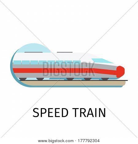 Vector speed train in flat style with sign on white background