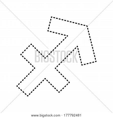 Sagittarius sign illustration. Vector. Black dashed icon on white background. Isolated.
