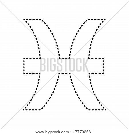 Pisces sign illustration. Vector. Black dashed icon on white background. Isolated.