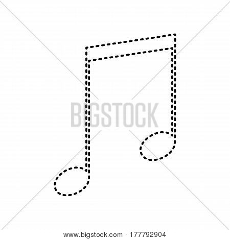 Music sign illustration. Vector. Black dashed icon on white background. Isolated.