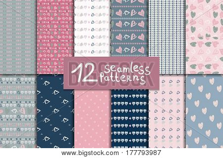 Big doodle seamless pattern set with hearts. Twelve vector valentines day backgrounds in pink grey and blue colors.