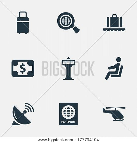 Vector Illustration Set Of Simple Airport Icons. Elements Luggage Carousel, Global Research, Travel Bag And Other Synonyms Currency, Sitting And Dollar.