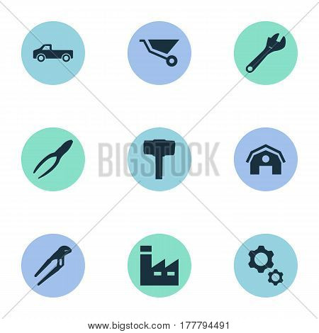 Vector Illustration Set Of Simple Repair Icons. Elements Clipping Tool, Adjustable Wrench, Hangar And Other Synonyms Truck, Transportation And Factory.