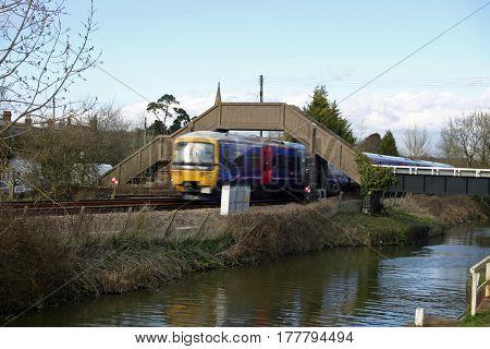 Canal, Railway And Train