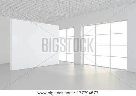 White clean interior with blank white poster. 3d rendering