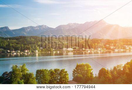 View of the mountain lake in Austria