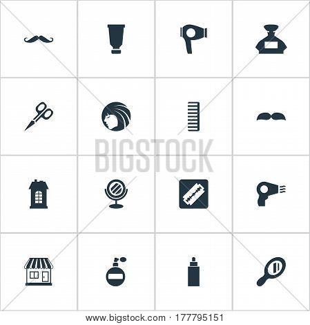 Vector Illustration Set Of Simple Beautician Icons. Elements Premises, Drying Machine, Aroma And Other Synonyms Hair, Beautiful And Machine.