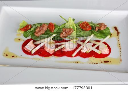 Lobster salad served with fresh vegetable and special sauce