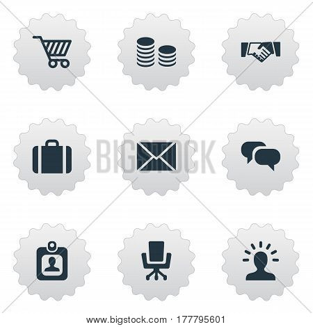 Vector Illustration Set Of Simple Commerce Icons. Elements Work Seat, User, Hard Money And Other Synonyms Friendship, Money And Handshake.