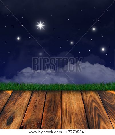 Starry Night, Clouds. Wooden Floor And Grass. Background Is Empty