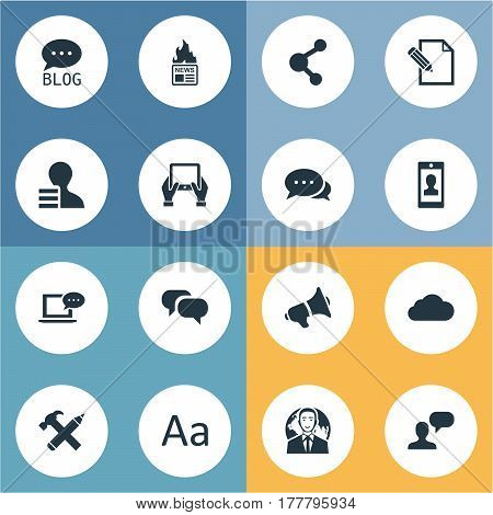 Vector Illustration Set Of Simple Newspaper Icons. Elements Man Considering, Argument, Gossip And Other Synonyms Share, Notepad And Tablet.