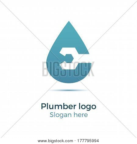 Plumbing company logo vector concept. Illustration for plumber's business. Simple and stylish logotype - water drop with wrench. Negative space design.