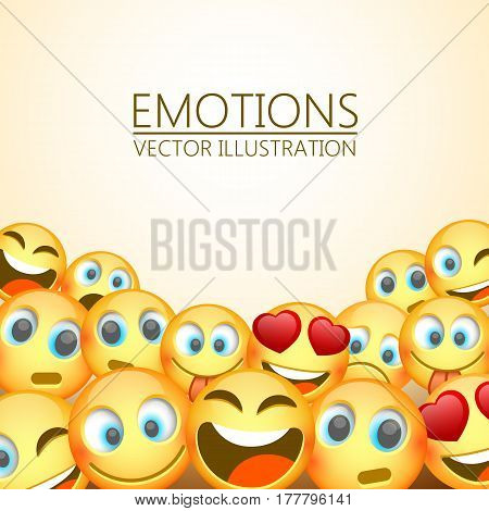 Modern yellow laughing three Emoji, Emotions background, Vector