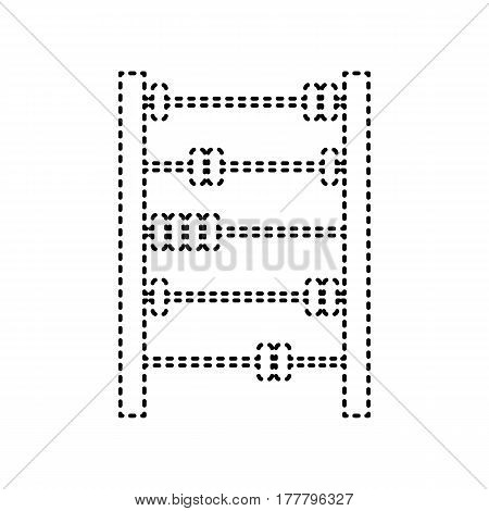 Retro abacus sign. Vector. Black dashed icon on white background. Isolated.
