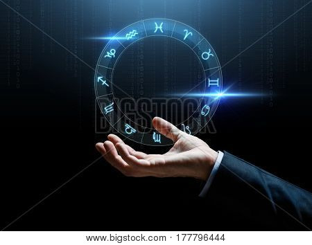 astrology, horoscope, business and people concept - close up of businessman hand with signs of zodiac over dark background