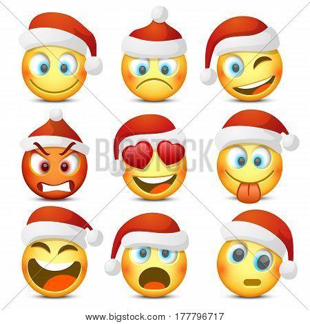 Emoji and sad New Year hat icon set. Vector